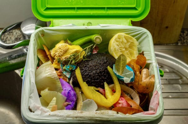 Home food waste container full leftovers vegetables in a plastic bag close up shot in the kitchen 2020