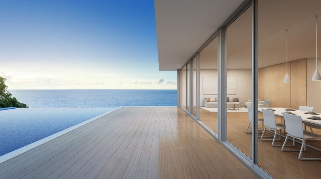 Beach house with panoramic view of the ocean