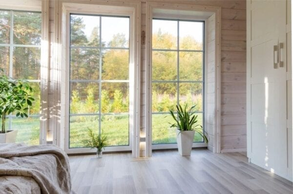 Interior of house looking at yard through window
