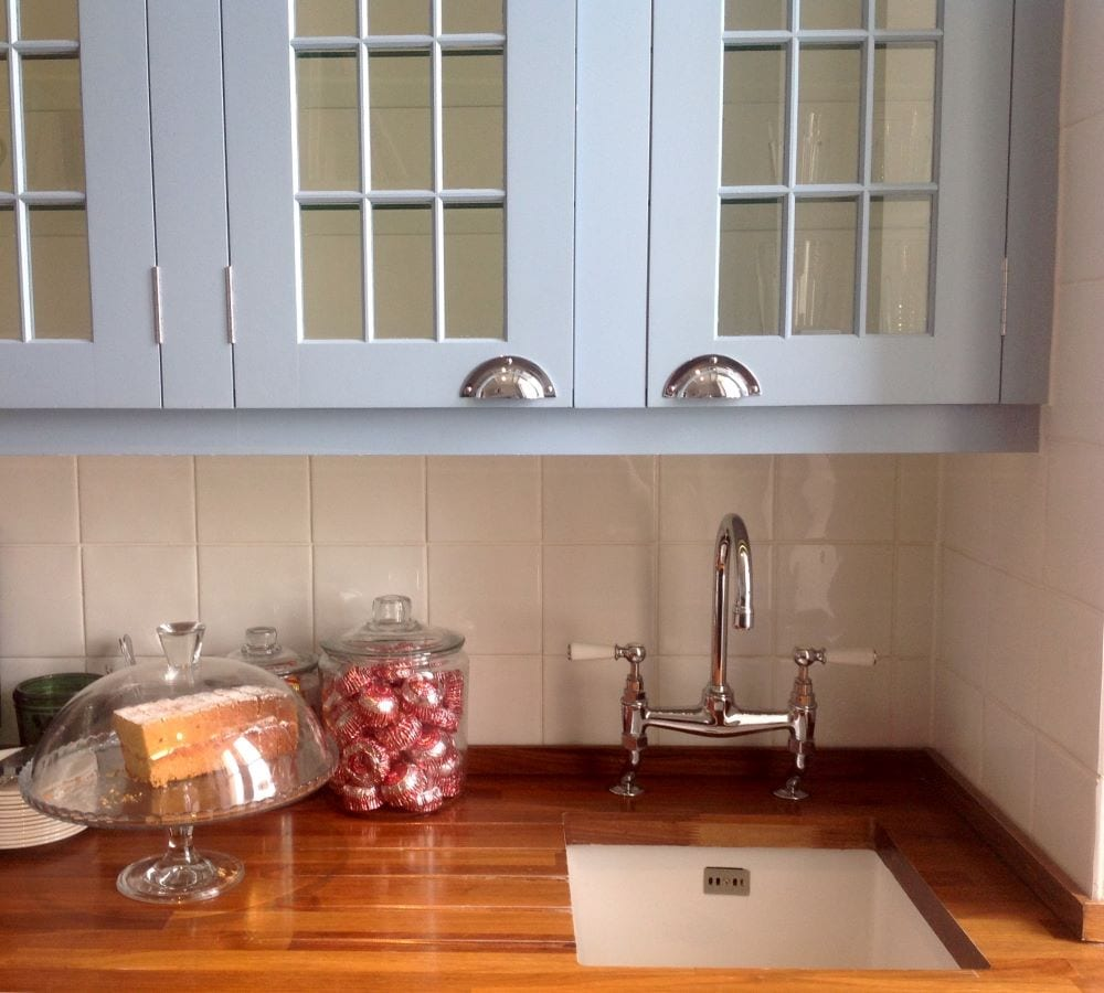 Farmhouse style kitchen counter and cabinets