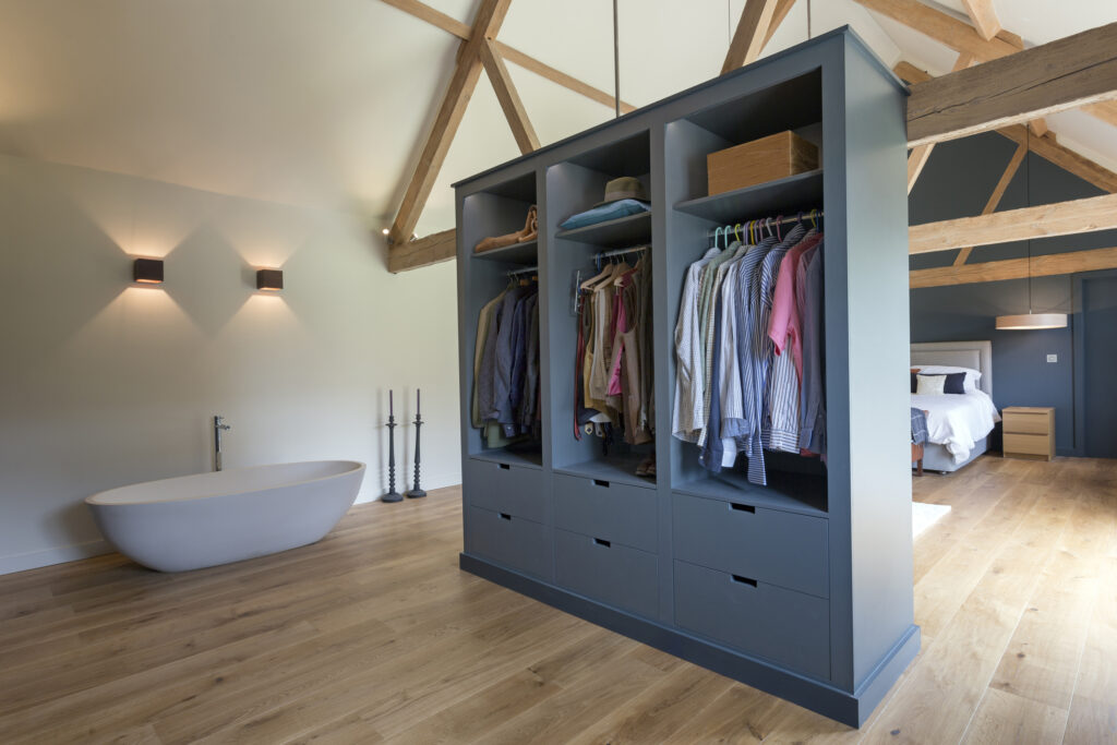 Blue cabinet in room