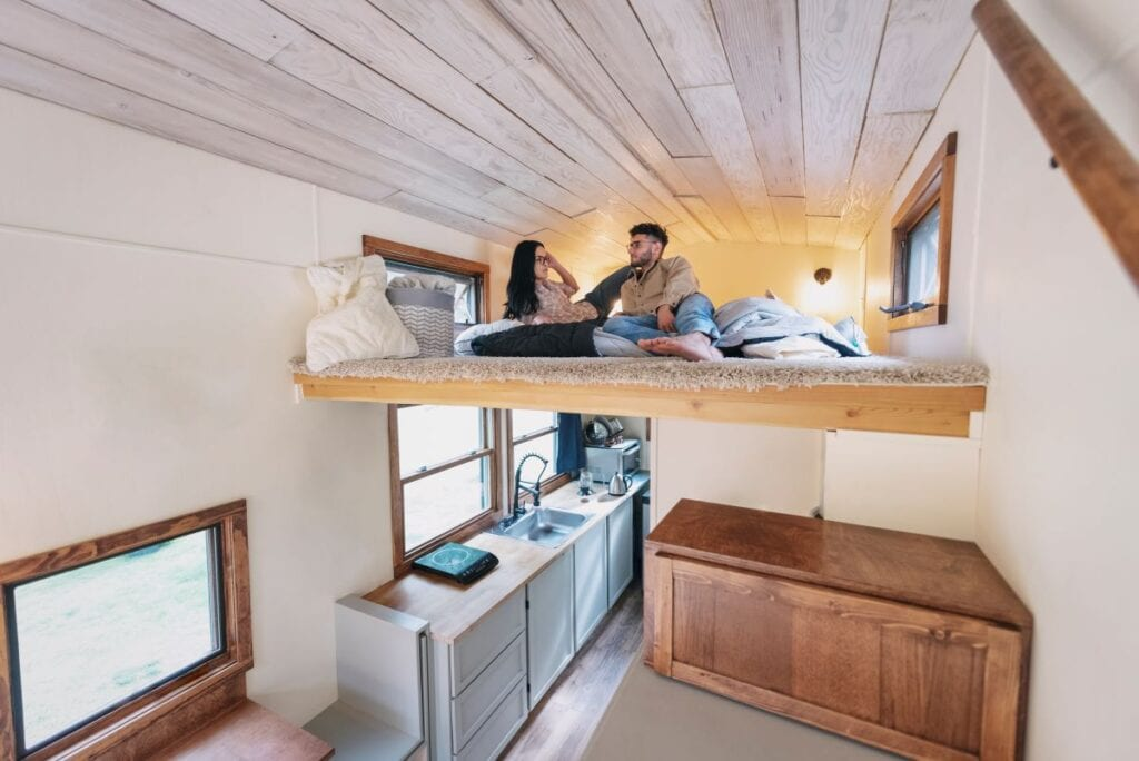 Loft bed to create space in tiny house