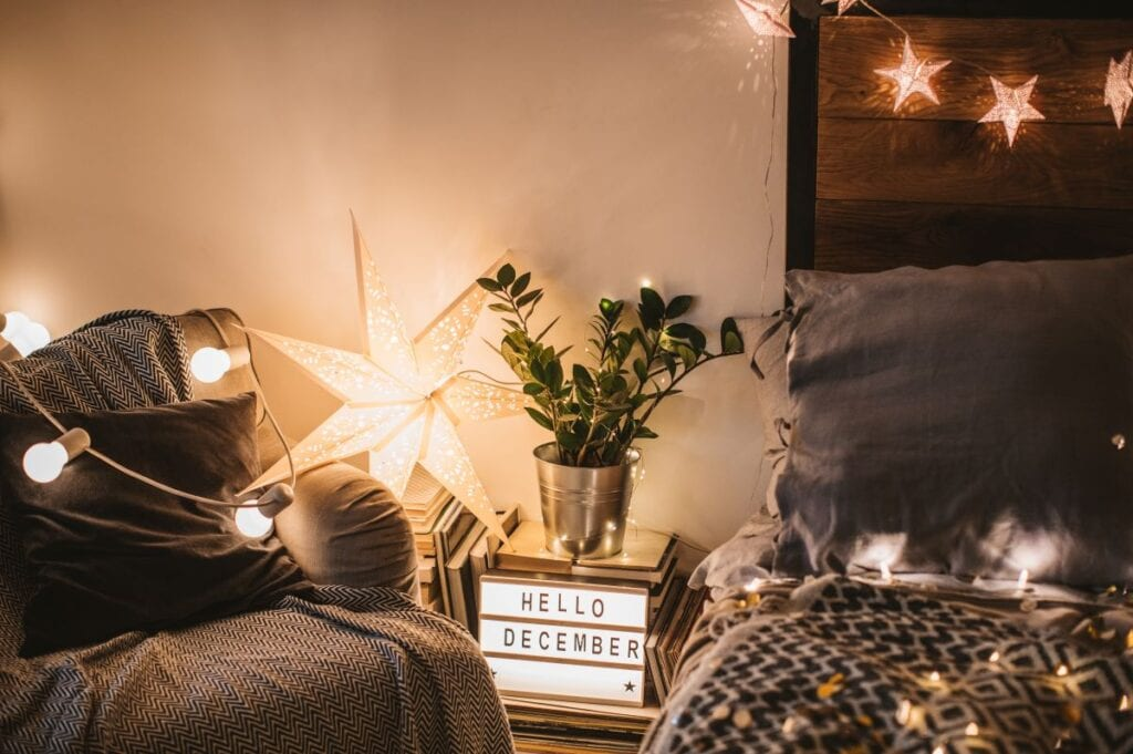 Cozy bedroom with string lights