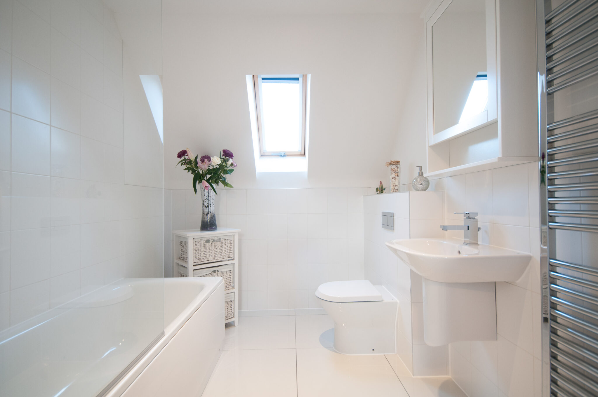 A general interior view of within a home affordable bathroom décor