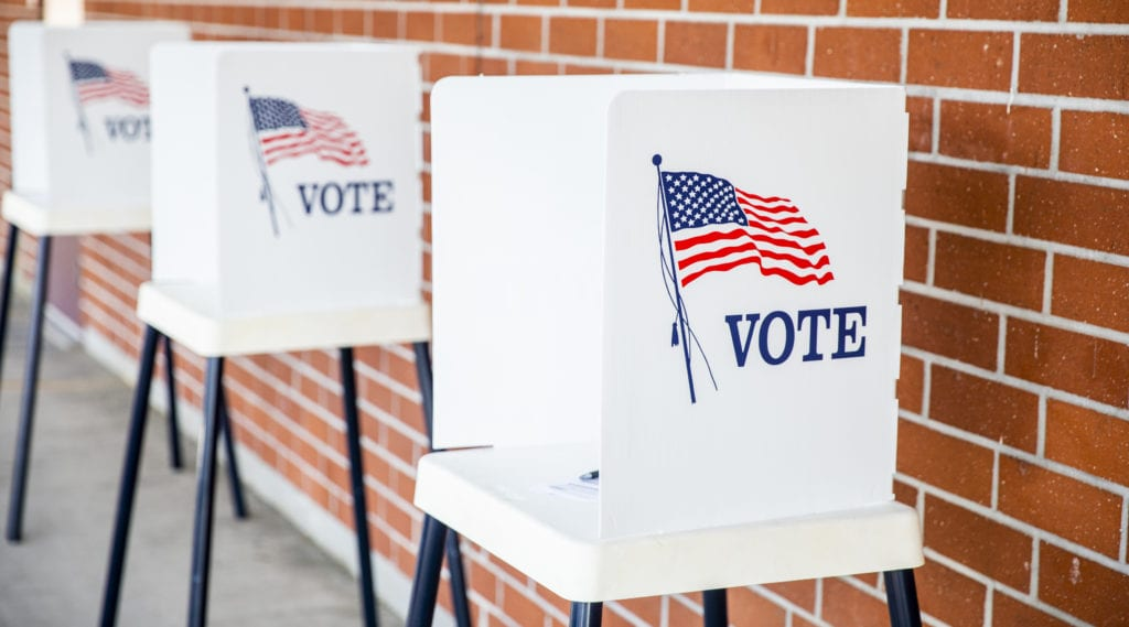 A polling location is open and ready for registered voters to cast their ballots.