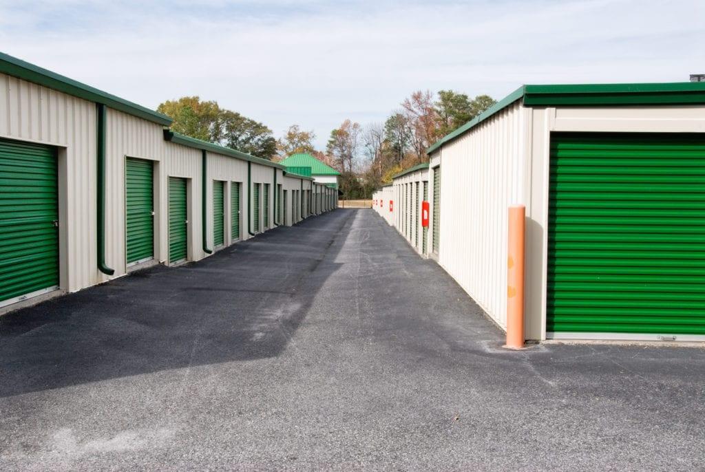 green outdoor storage units