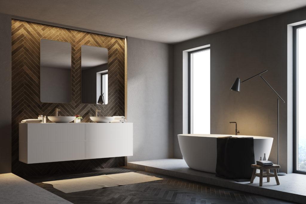 Bathroom with dark grey, charcoal walls
