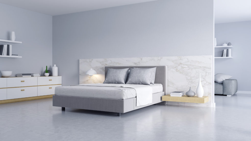 Minimalist light gray bedroom