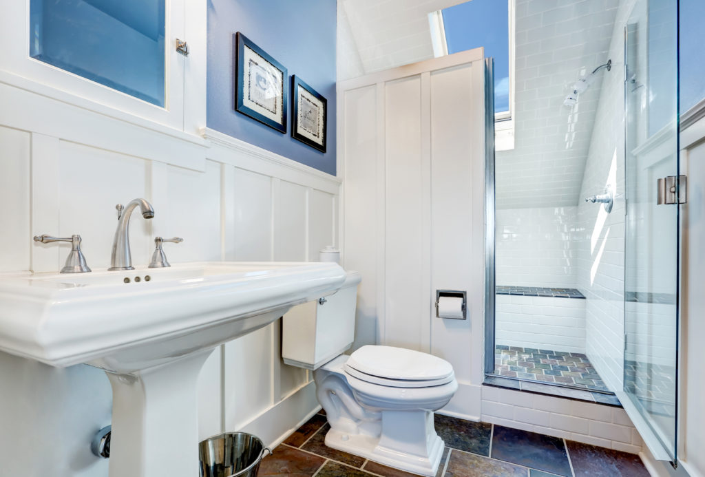 Bathroom with white and blue walls