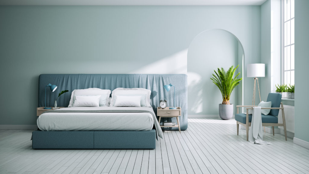 Slate blue minimalist bedroom