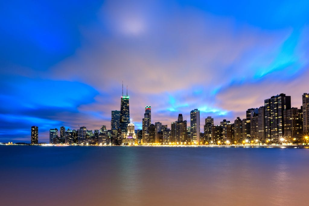 View of Chicago Skyline from North Avenue Beach