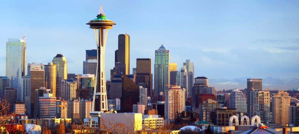 Seattle skyline against clear blue sky