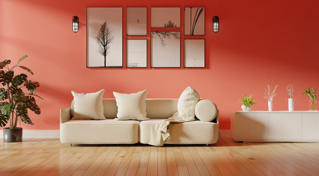 Living room with bright coral walls