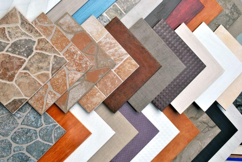 Multicolored floor tile samples