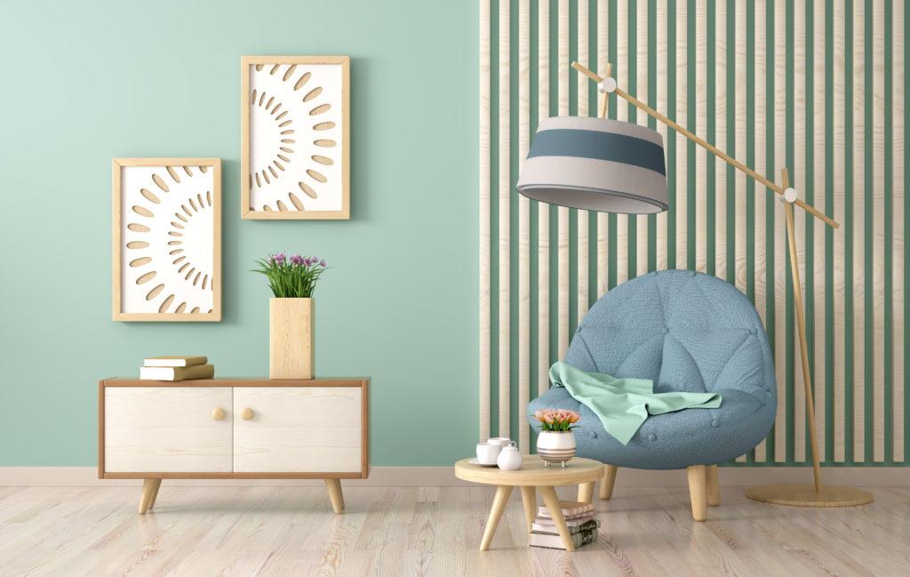Mint green modern living room