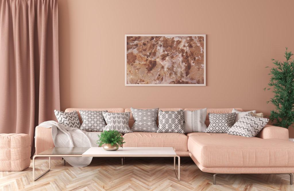 Modern peach living room with peach decor