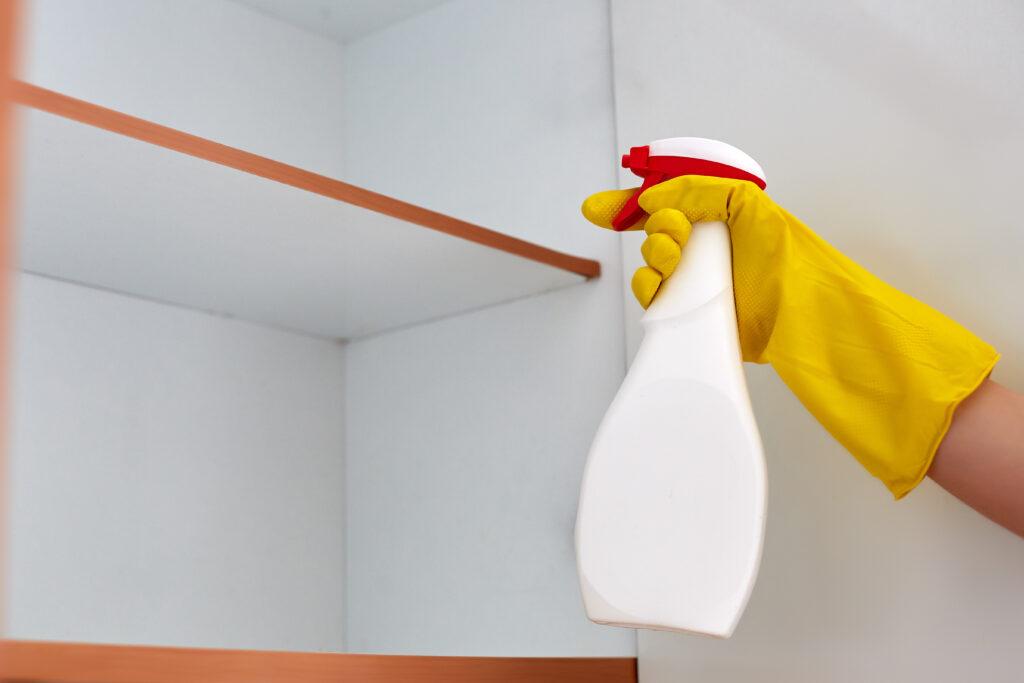 Person spraying diy pesticide in cabinet