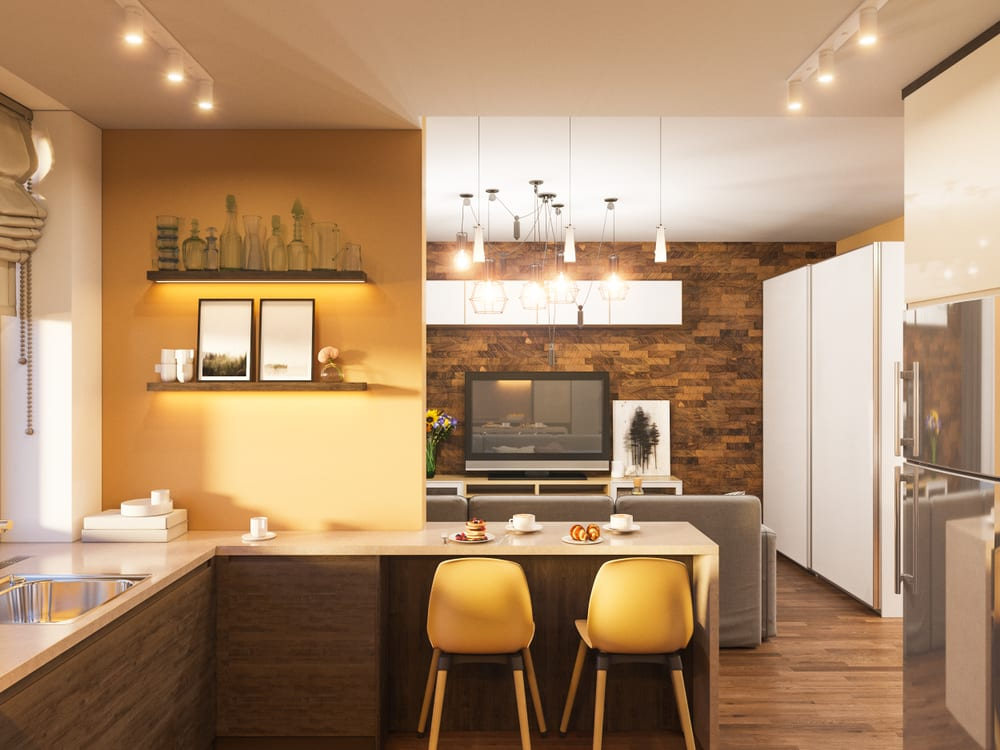 Mustard yellow walls in a country chic kitchen