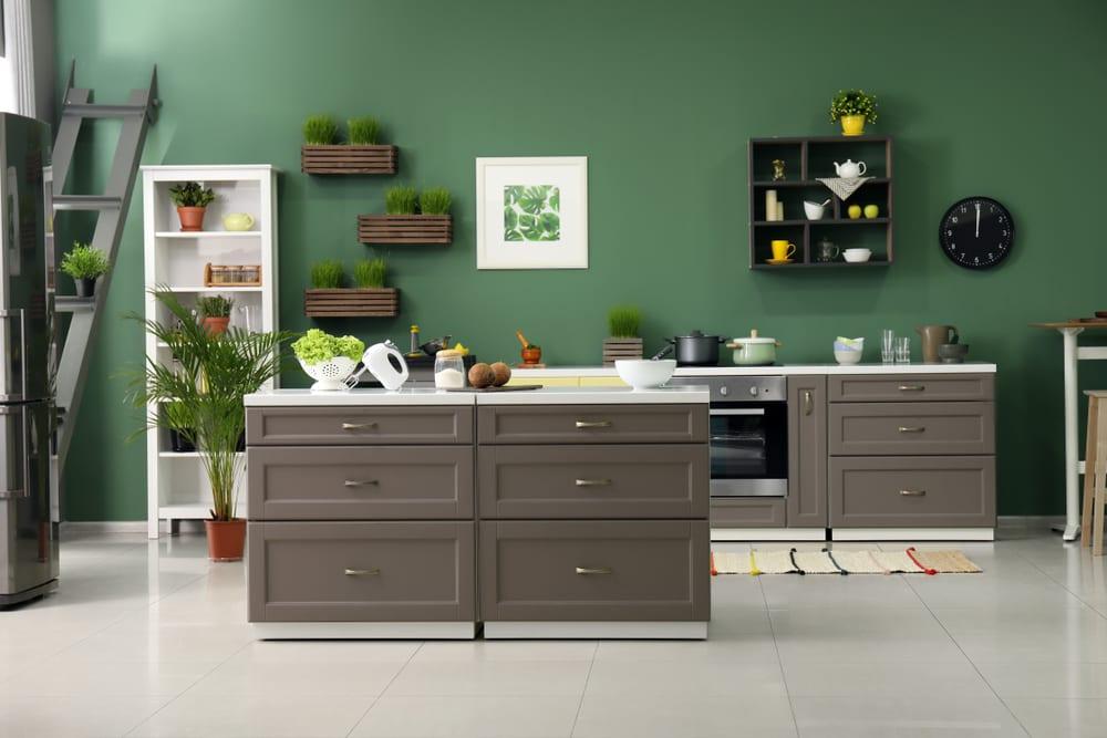 Lush green modern kitchen