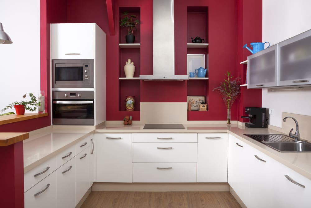 Deep red in a traditional kitchen