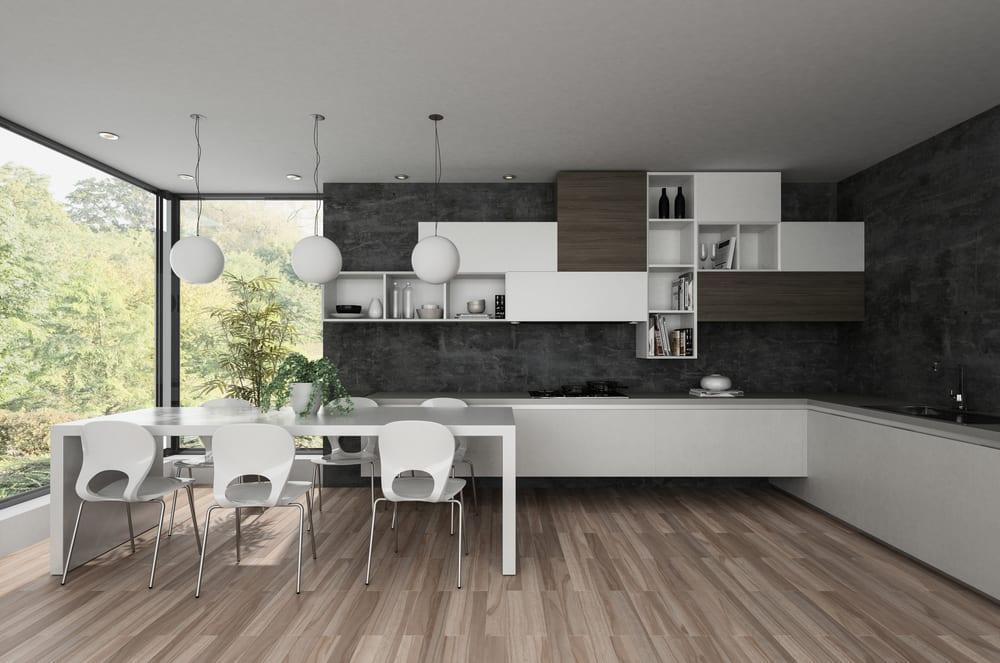 Dark grey walls in a minimalistic kitchen