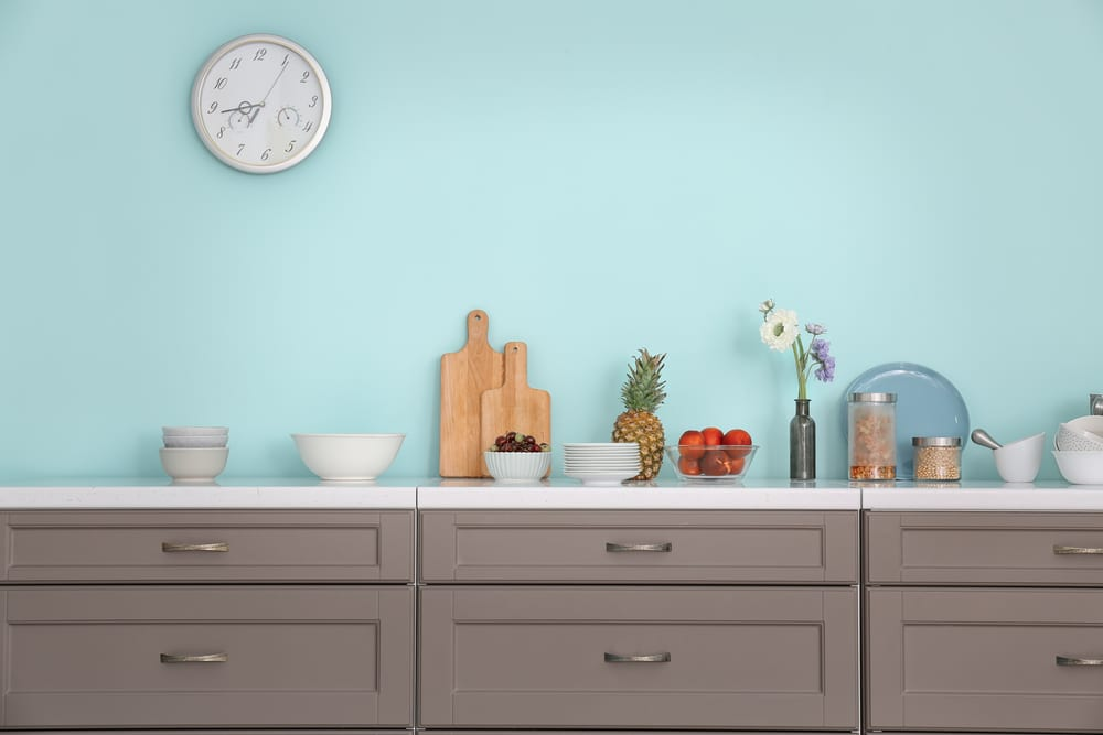 Duck egg blue kitchen walls
