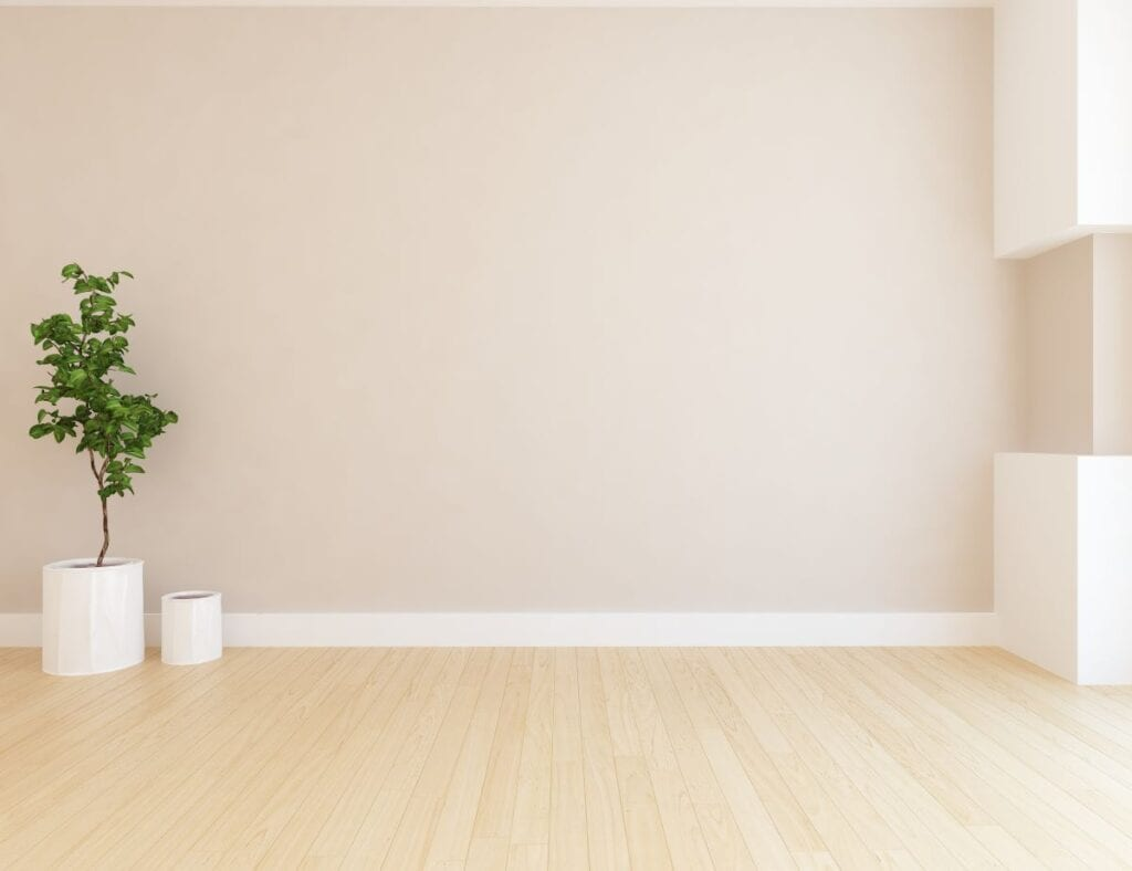 Empty living room with beige wall paint and wood floor