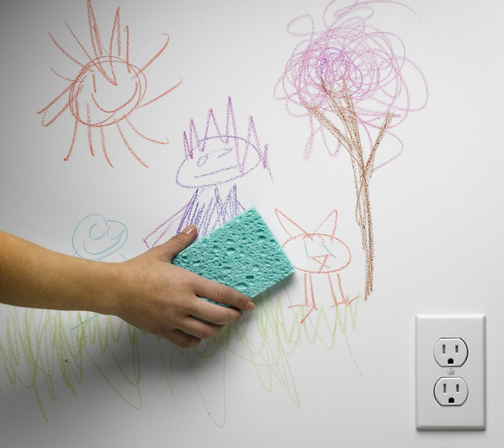cleaning crayon off white wall