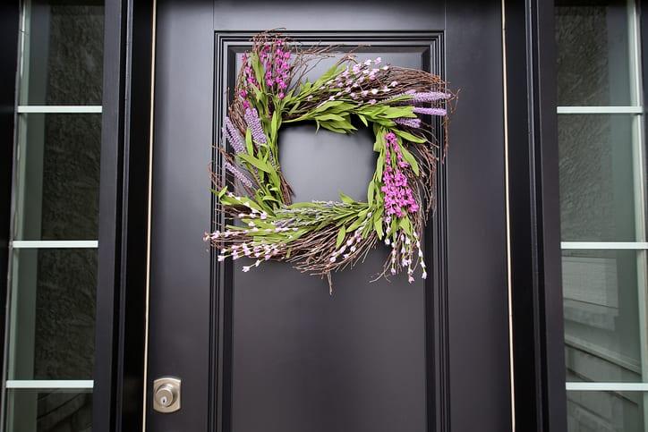 Eggplant Front Door Spring Wreath Close Up
