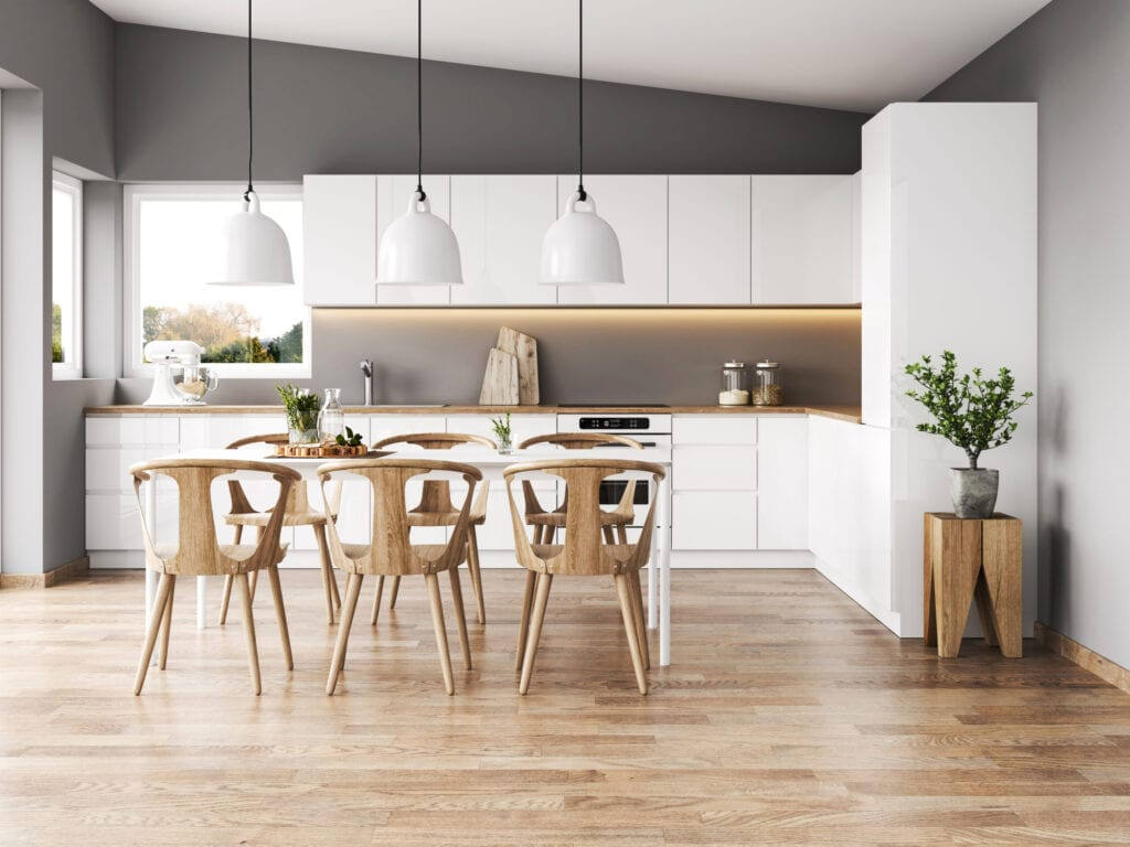 Modern interior with kitchen and dining room. Render image.