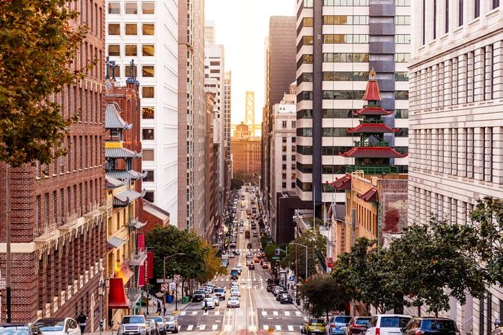 Street in San Francisco financial district, California, USA