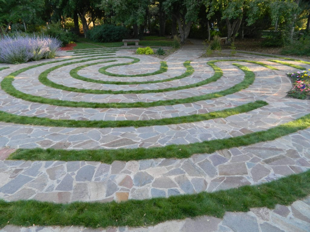 Serene meditation labyrinth for self reflection.