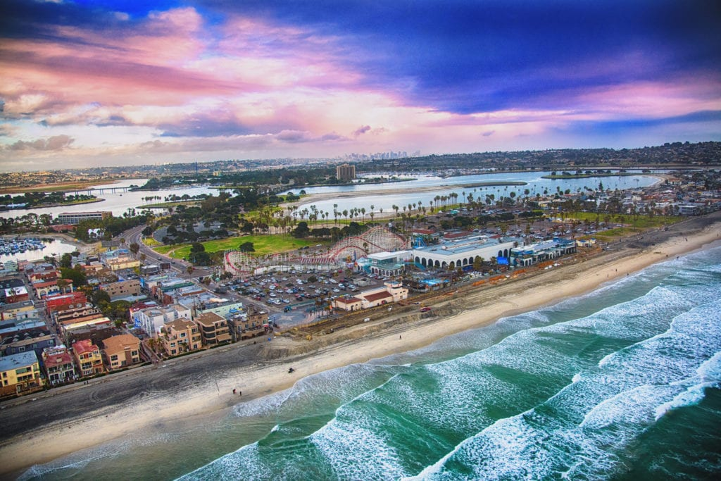 San Diego's Mission Beach Aerial View