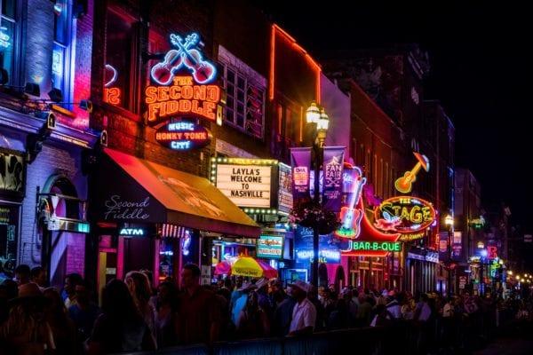 Lit-up Broadway street in Nashville, Tennessee