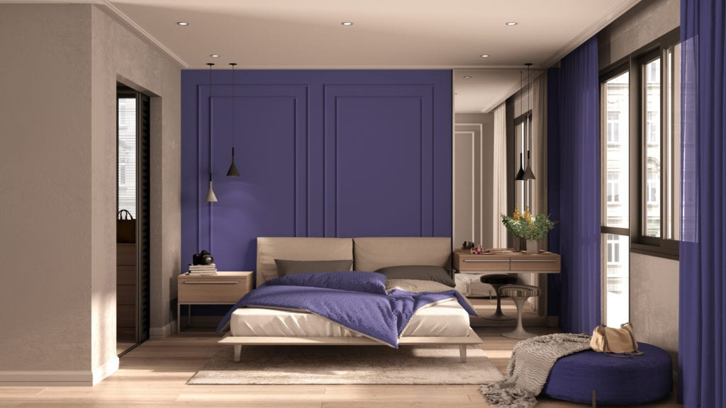 Taupe and Purple colored bedroom