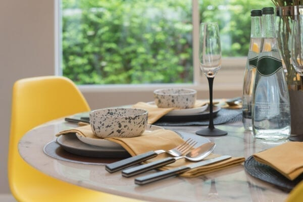 yellow and grey dinning table 2021 trend