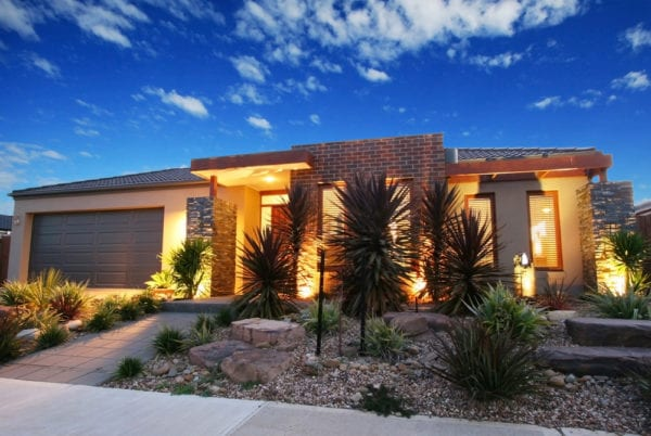 Desert landscaping with ambient lighting