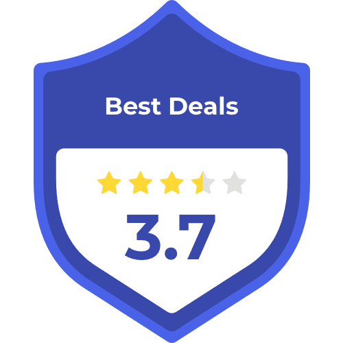 Best deals badge with 3.7 stars