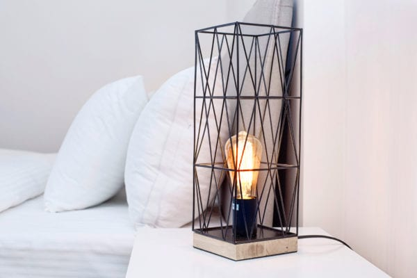 Cool lamp next to bed