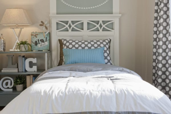 Twin bed with cute headboard