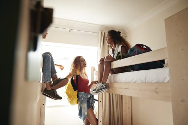 Girls hanging out in college dorm