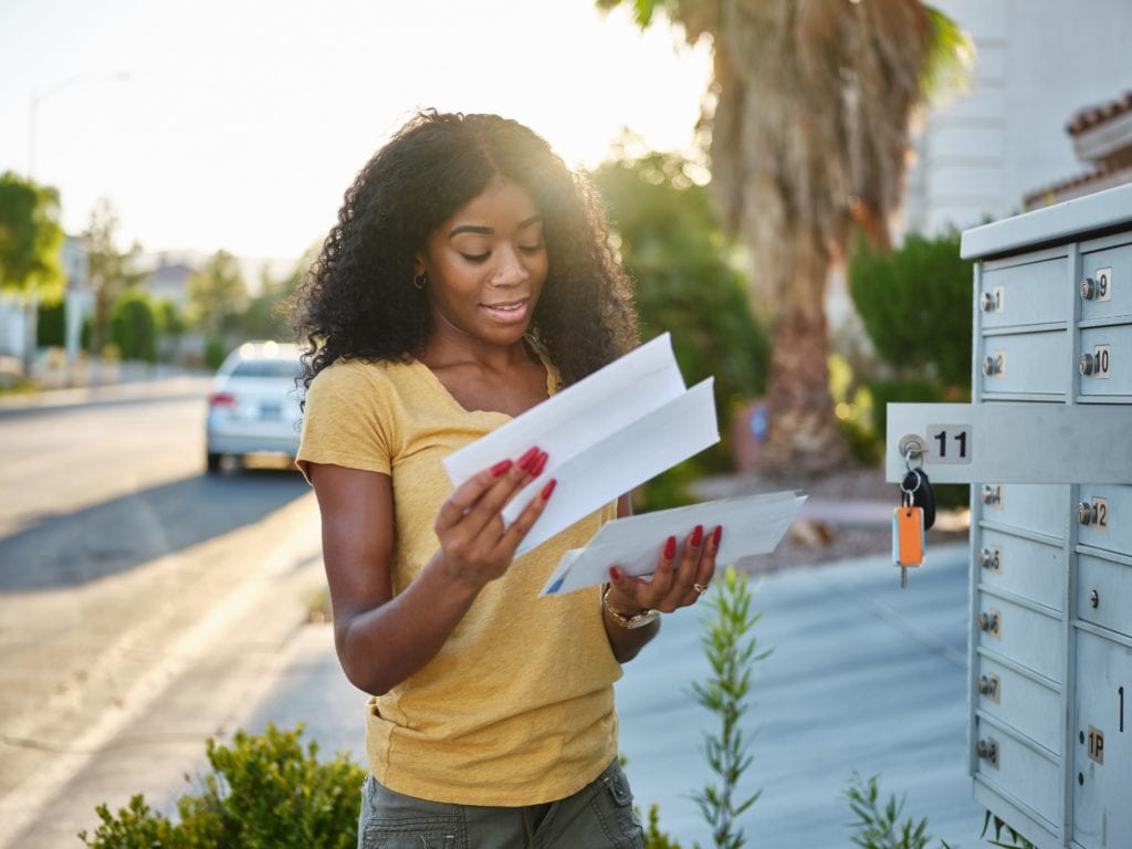 Woman checking mail