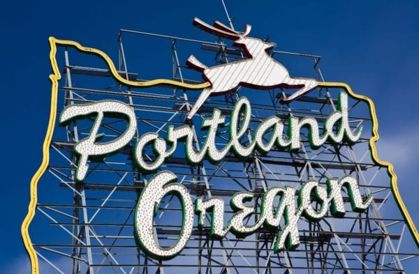 Portland Oregon sign close up