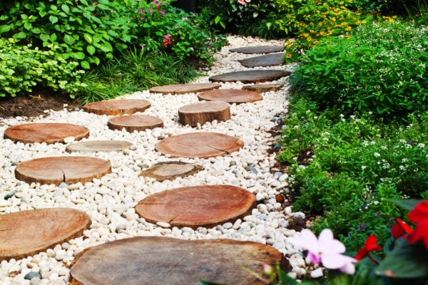 Stone and wood walkway in backyard garden