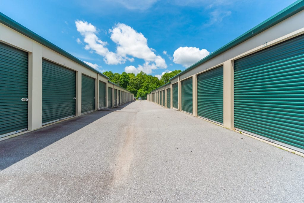 Rows of self storage units