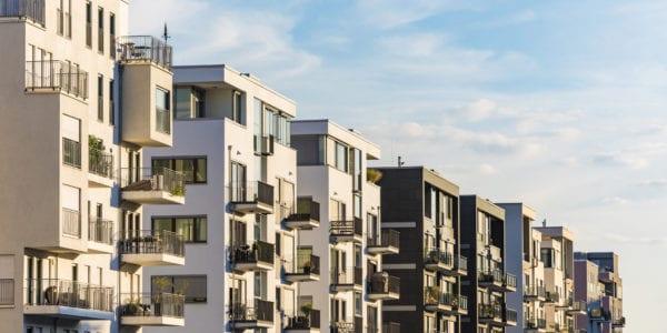 Exterior of modern residential buildings against sky in Frankfurt, Germany