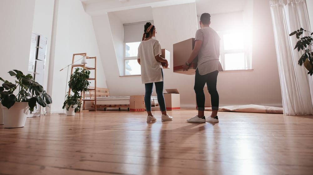Couple moves into their rented apartment