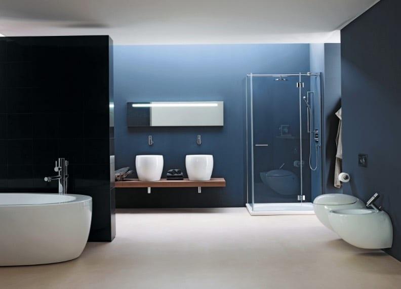 contemporary blue bathrooms