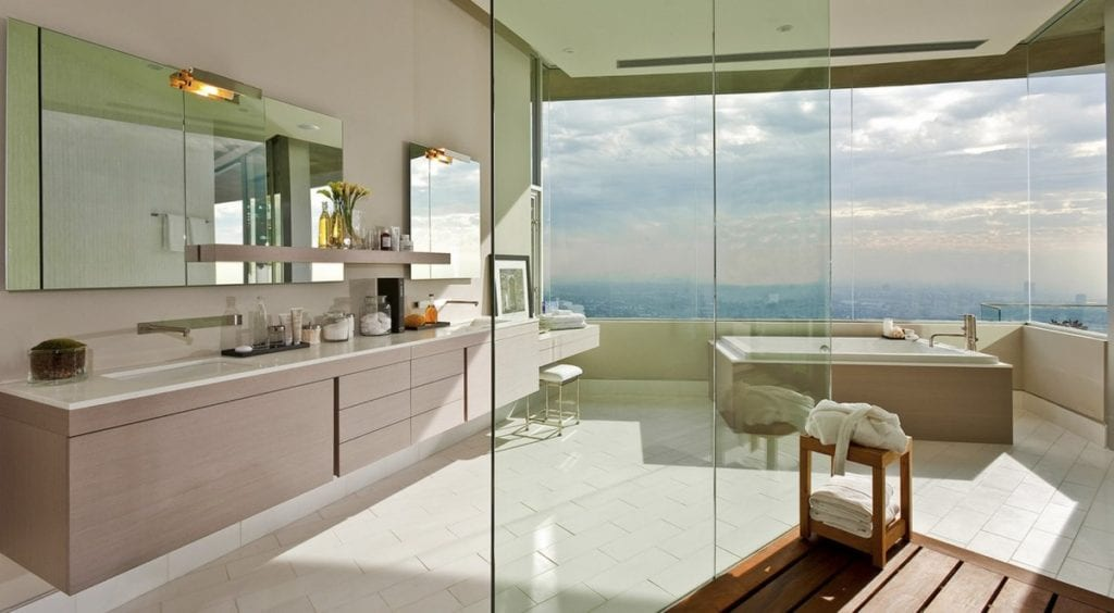 Bathroom view of the city