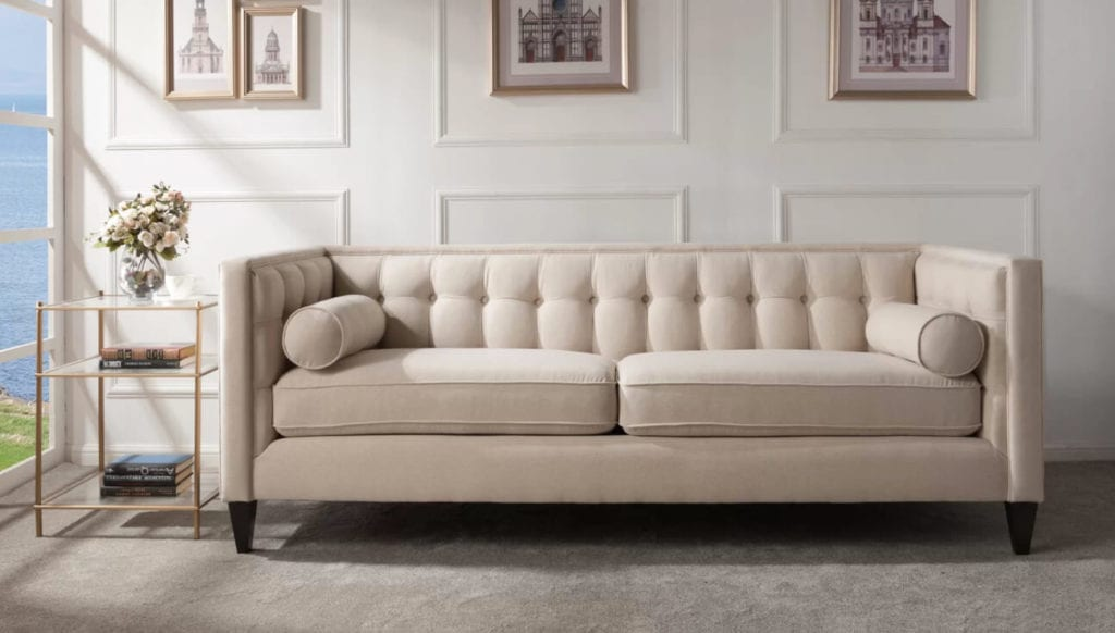 neutral beige velvet sofa